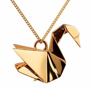 Origami Japanese Simple Gold Swan Necklace Pendant